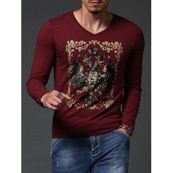 Fashion Gold Stamping Slim Fit Long Sleeve T-Shirt For Men