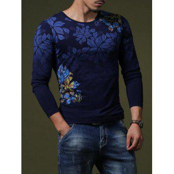 Stylish Flower Print Slim Fit Round Neck Long Sleeves T-Shirt For Men