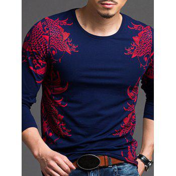 Fashionable Printed Slim Fit Long Sleeves T-Shirt For Men