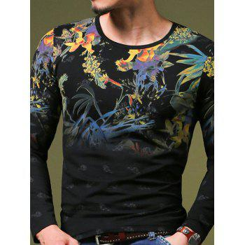 Stylish Plant Print Slim Fit Round Neck Long Sleeves T-Shirt For Men