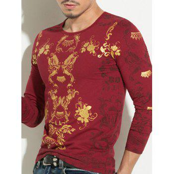 Floral Hot Stamping Printing Round Neck Men's Long Sleeve T-Shirt