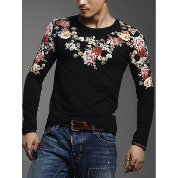 Floral Print Long Sleeve Round Neck Men's T-Shirt