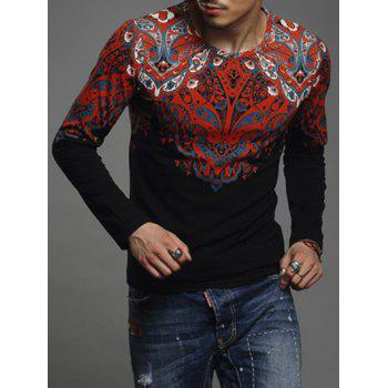 Paisley Print Round Neck Long Sleeve Men's T-Shirt