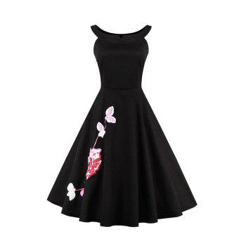 Floral Embroidered Waisted A Line Cocktail Dress