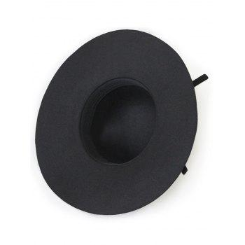 Knot Chic Solid Color Felt Floppy Hat - Noir