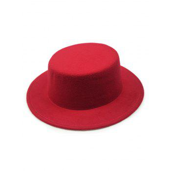 Buy Chic Solid Color Flat Top Felt Fedora Hat RED