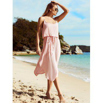 Trendy Spaghetti Strap Furcal Pure Color Asymmetrical Women's Dress - LIGHT PINK M
