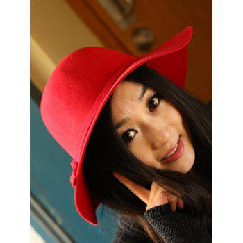Chic Solid Color Knot Felt Floppy Hat - RED