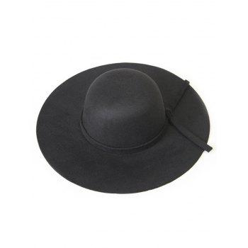 Chic Solid Color Knot Felt Floppy Hat - BLACK