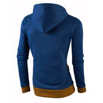 IZZUMI Stylish Color Block Spliced Slim Fit Casual Long Sleeve Hoodies For Men - DEEP BLUE M