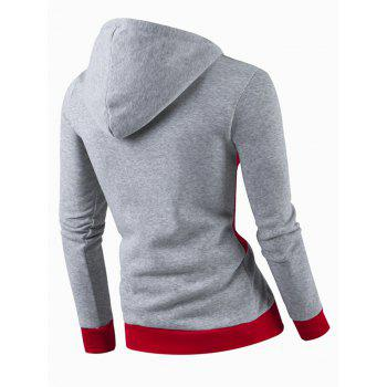 IZZUMI Stylish Color Block Spliced Slim Fit Casual Long Sleeve Hoodies For Men - LIGHT GRAY M