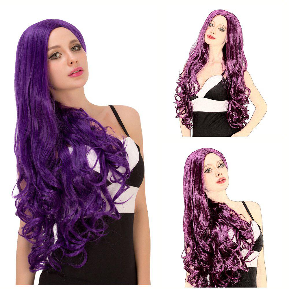 Buy Charming Women's Long Fluffy Wavy Side Parting Purple Synthetic Capless Cosplay Wig PURPLE