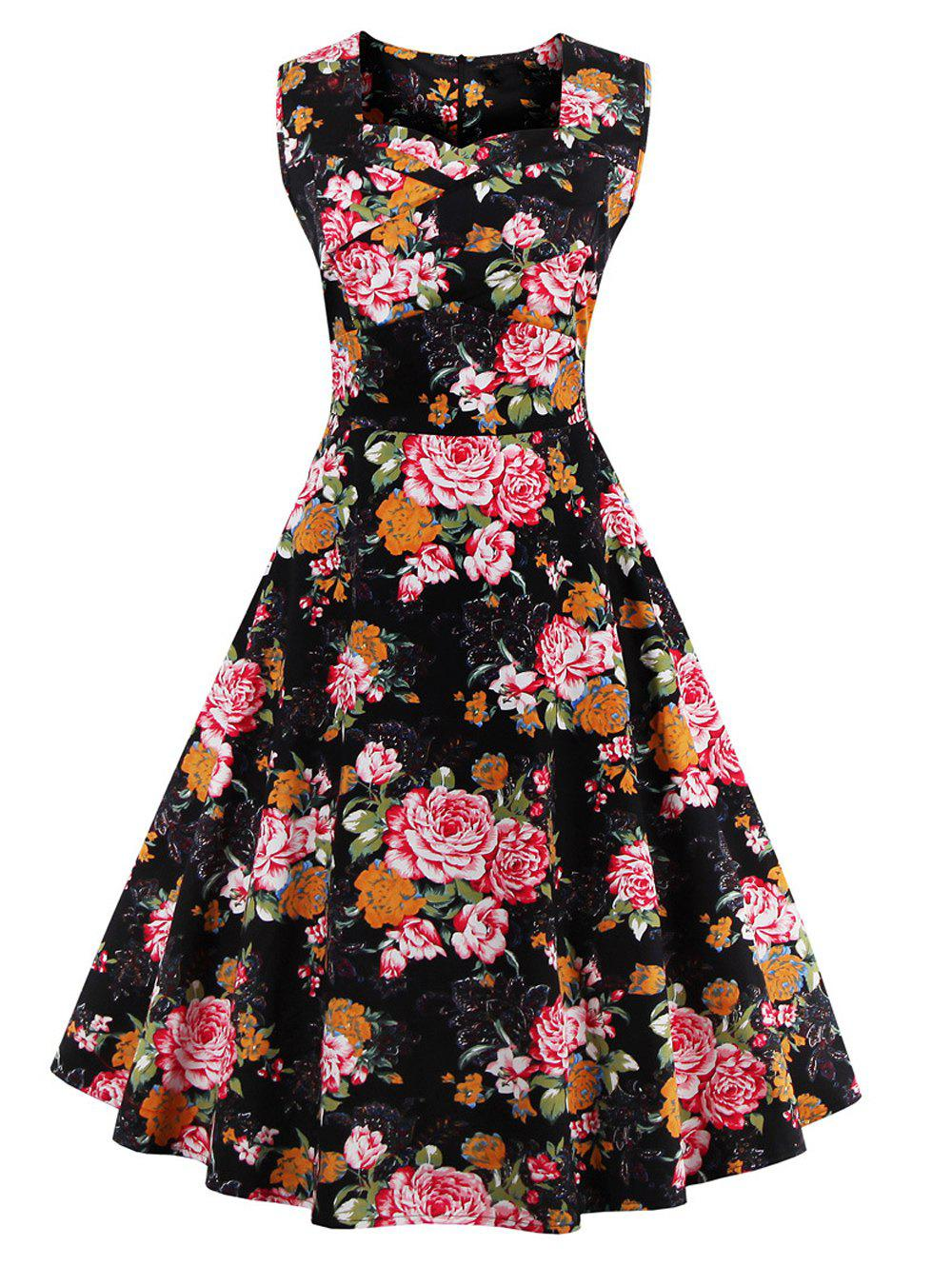 Retro Sweetheart Neck Floral Tea Length Skater Dress - COLORMIX S