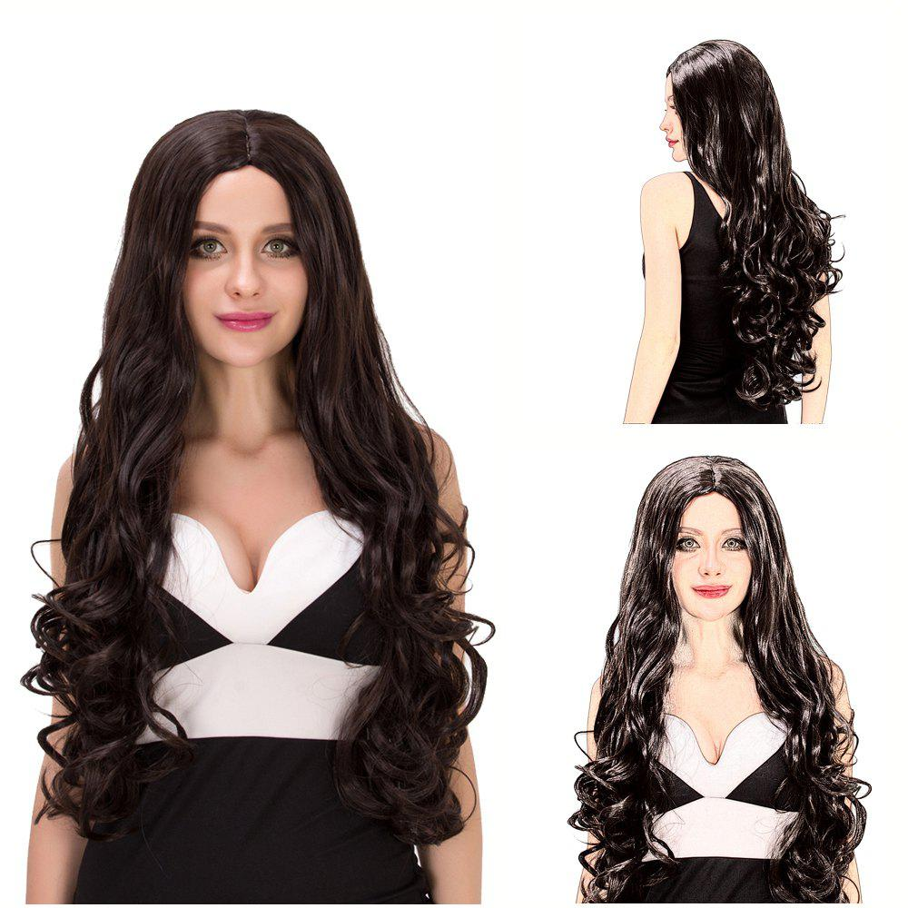 Charming Women's Long Fluffy Wavy Middle Part Dark Brown Synthetic Capless Cosplay Wig - BLACK BROWN