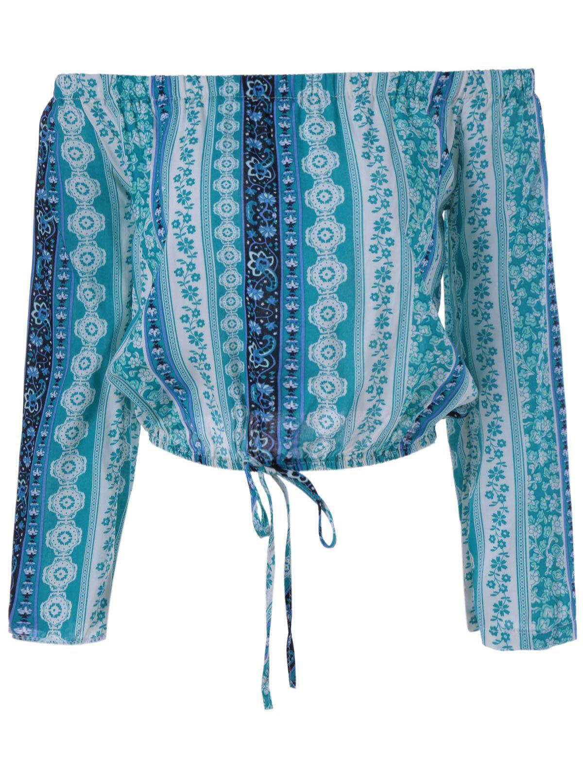 Ethnic Style Cropped Off The Shoulder Tie Nine-Minute Sleeves Top For WomenWomen<br><br><br>Size: ONE SIZE(FIT SIZE XS TO M)<br>Color: VERDIGRIS