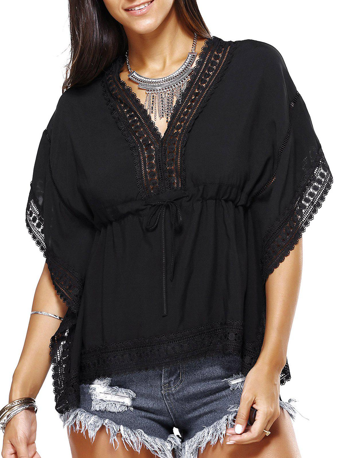 Endearing Batwing Sleeve Drawstring Blouse For Women - BLACK ONE SIZE