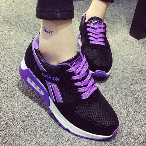Stylish Color Block and Lace-Up Design Women's Athletic Shoes - PURPLE 38