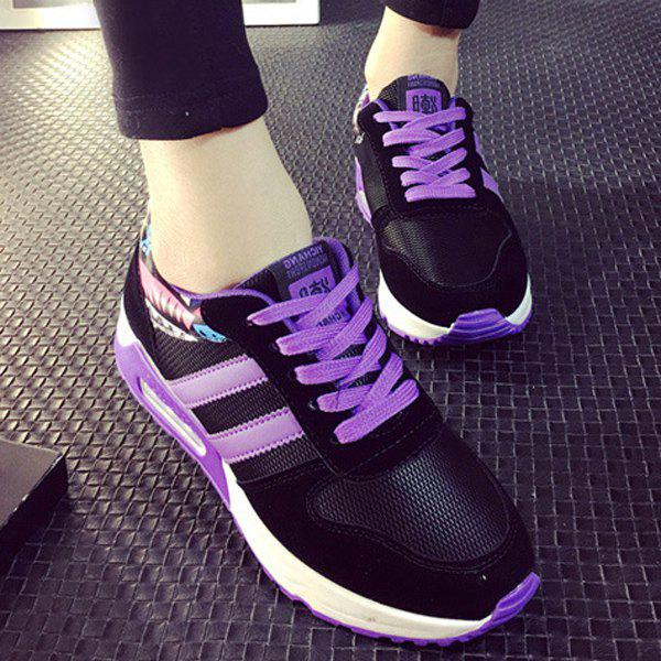 Stylish Splicing and Lace-Up Design Women's Athletic Shoes - PURPLE 39