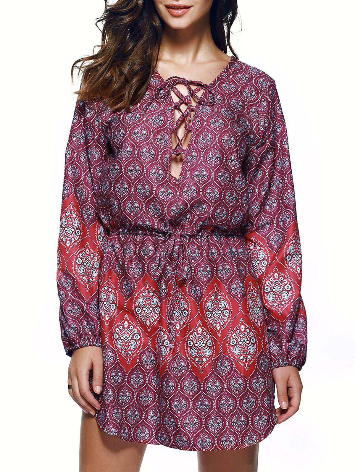 Bohemian Lace Up Drawstring Waist Ethnic Print Long Sleeve Dress - L COLORMIX