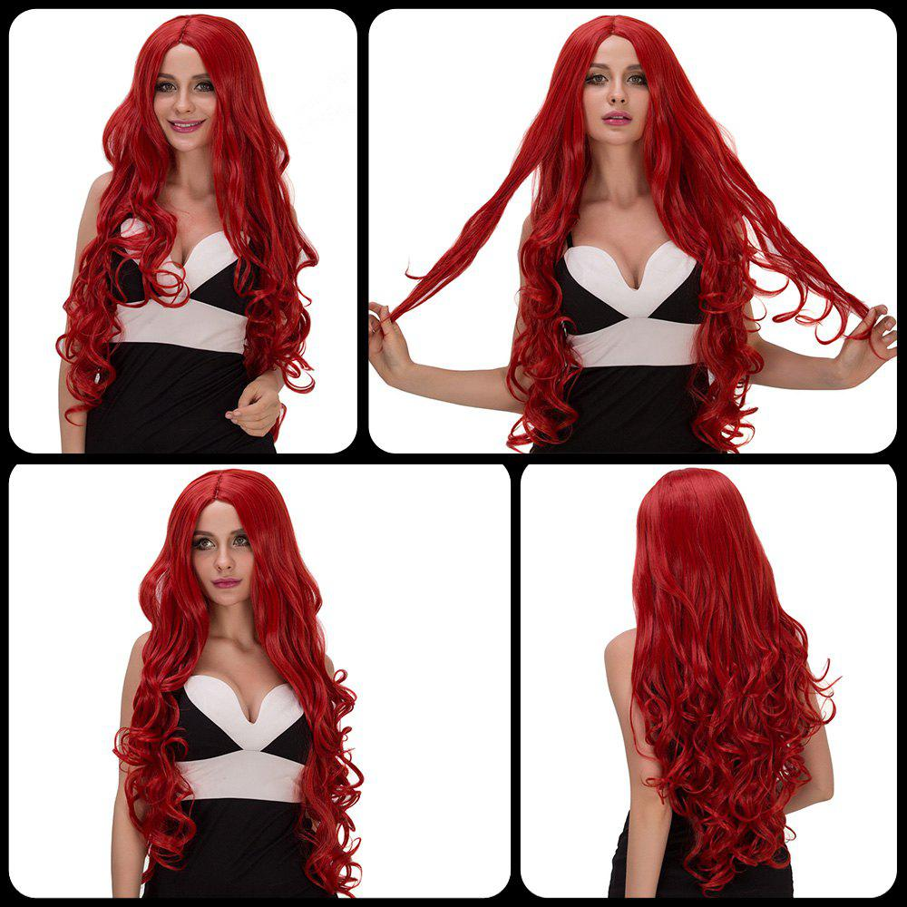 Vogue Women's Long Fluffy Wavy Middle Part Red Synthetic Capless Cosplay Wig - RED
