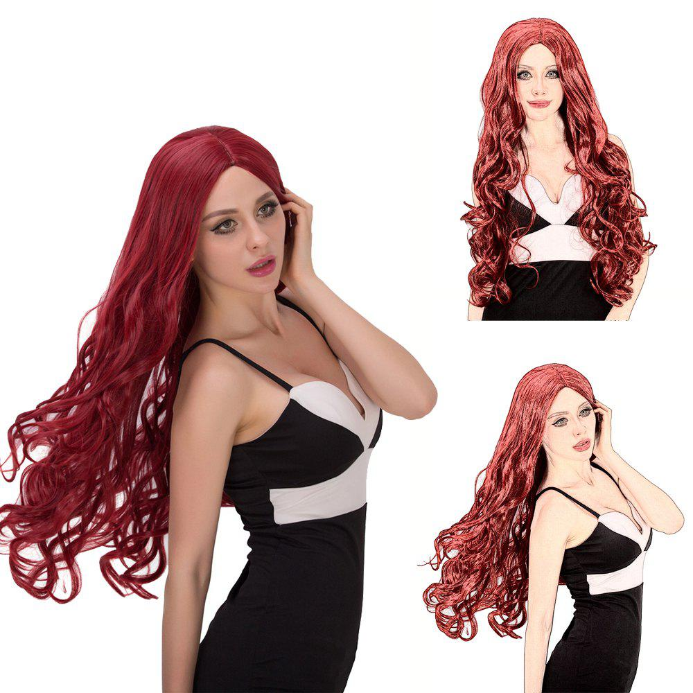 Vogue Women's Long Fluffy Wavy Middle Part Wine Red Synthetic Capless Cosplay Wig - WINE RED