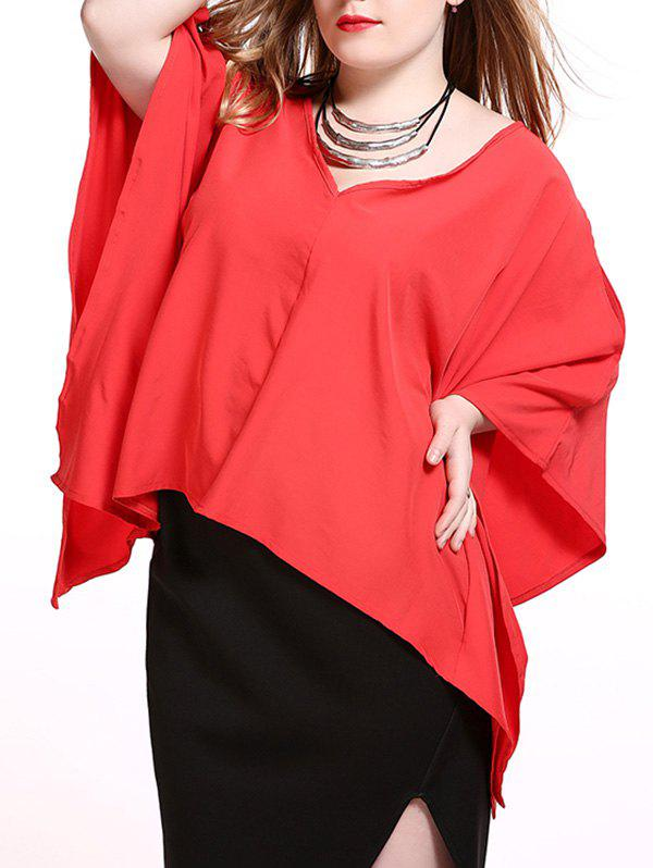 Plus Size Alluring Slit Sleeve Asymmetrical Blouse - RED 6XL