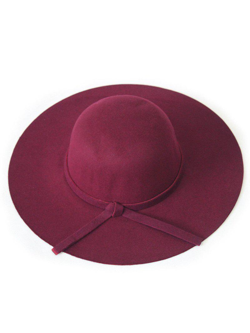Chic Solid Color Knot Felt Floppy Hat - WINE RED