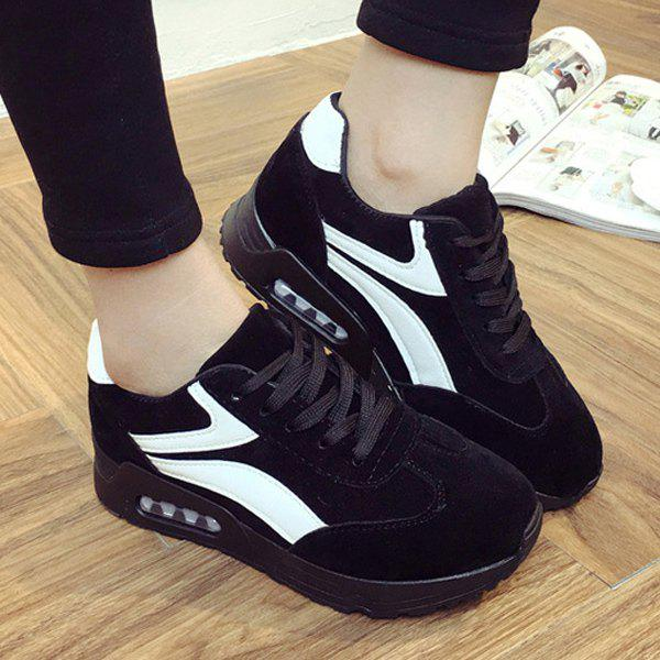 Round Toe Suede Color Block Sneakers - BLACK 40