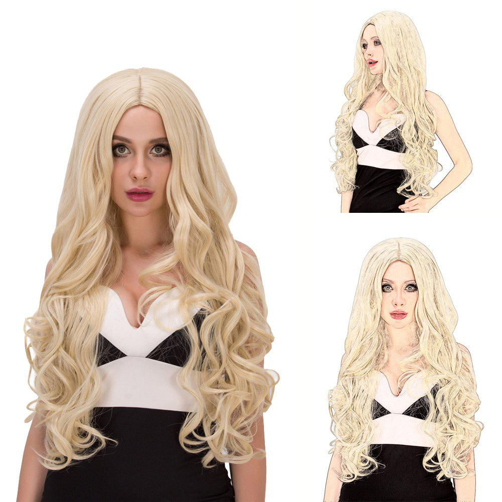 Vogue Women's Long Fluffy Wavy Middle Part Pale Gold Synthetic Capless Cosplay Wig