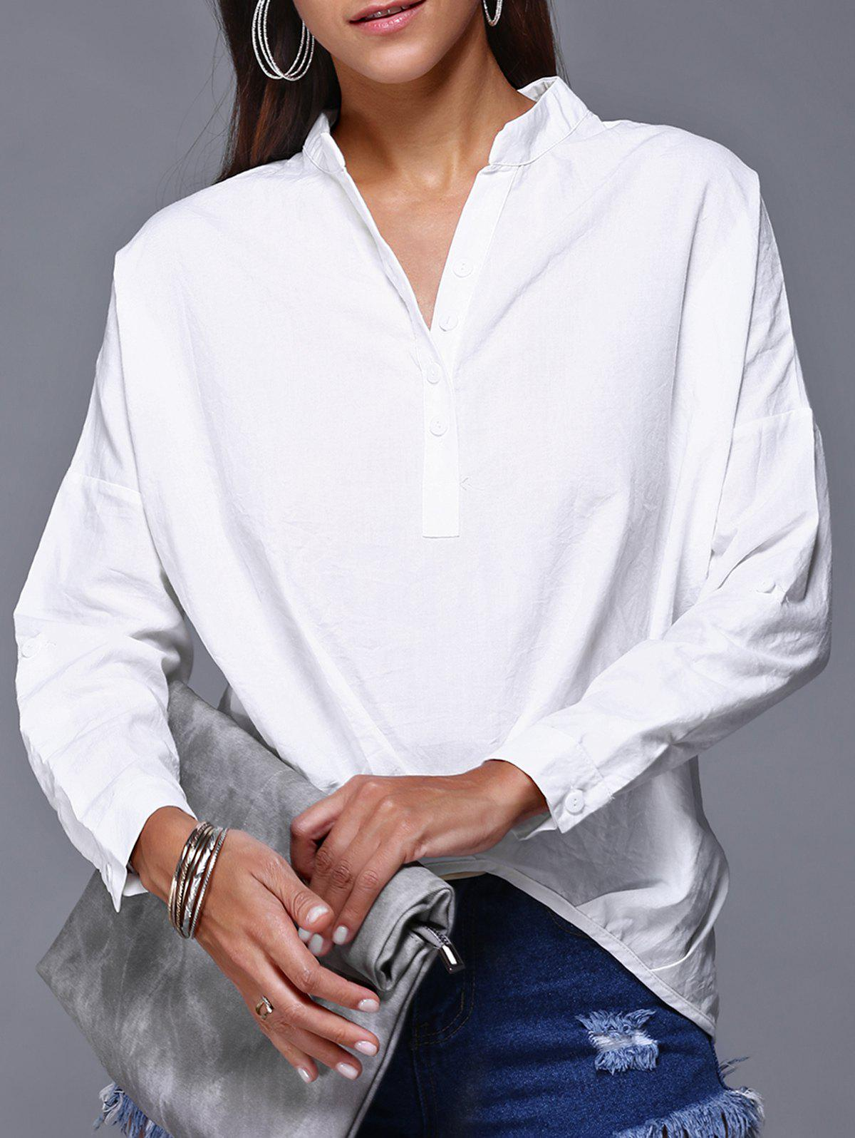 V-Neck High Low Slouchy Blouse - WHITE L