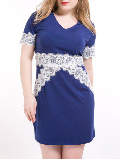 Plus Size OL Style Hit Color Dress