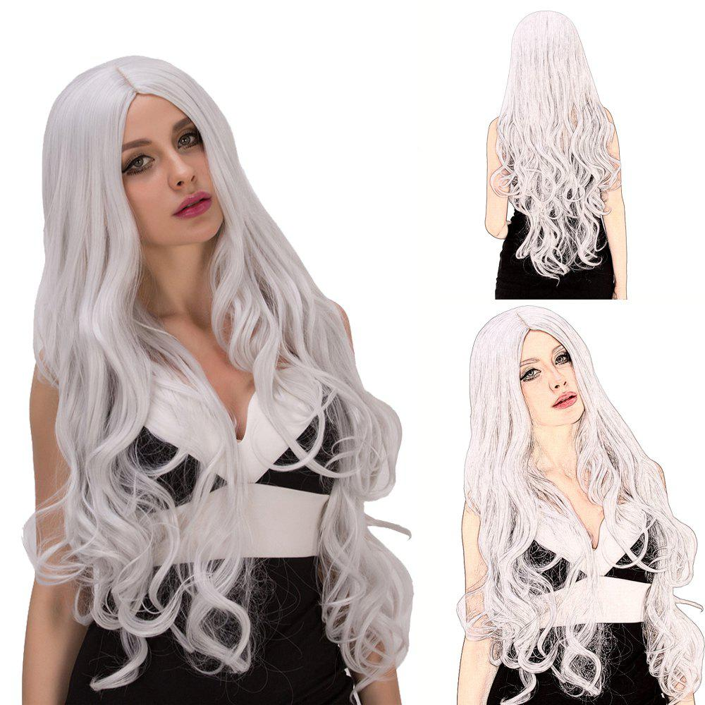 Fashion Women's Long Fluffy Wavy Middle Part Silver White Synthetic Capless Cosplay Wig - SILVER WHITE