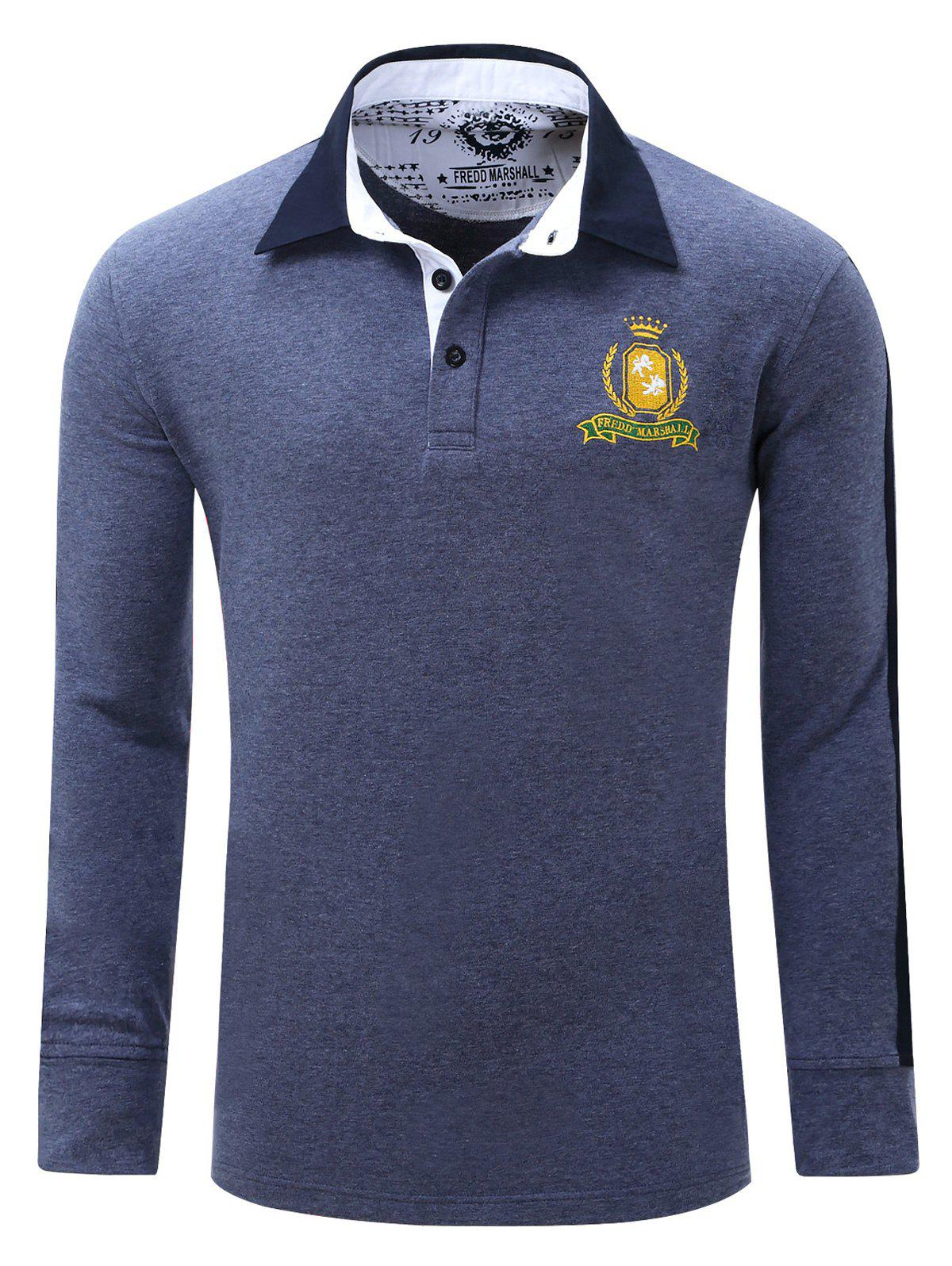 Embroidered Turn Down Collar Long Sleeve Men's Polo Shirt - DENIM BLUE XL