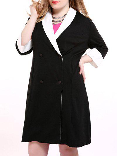 Plus Size Shawl Collar Double Breasted Coat - BLACK XL