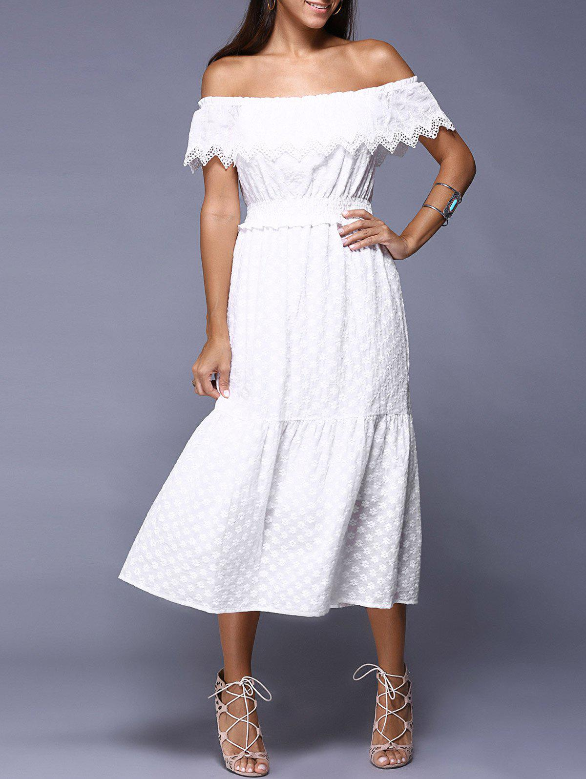Sweet Off-The-Shoulder Overlay Jacquard Dress For Women - WHITE ONE SIZE