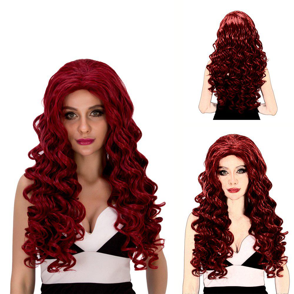 Vogue Women's Long Loose Curly Wine Red Synthetic Capless Cosplay Wig - WINE RED