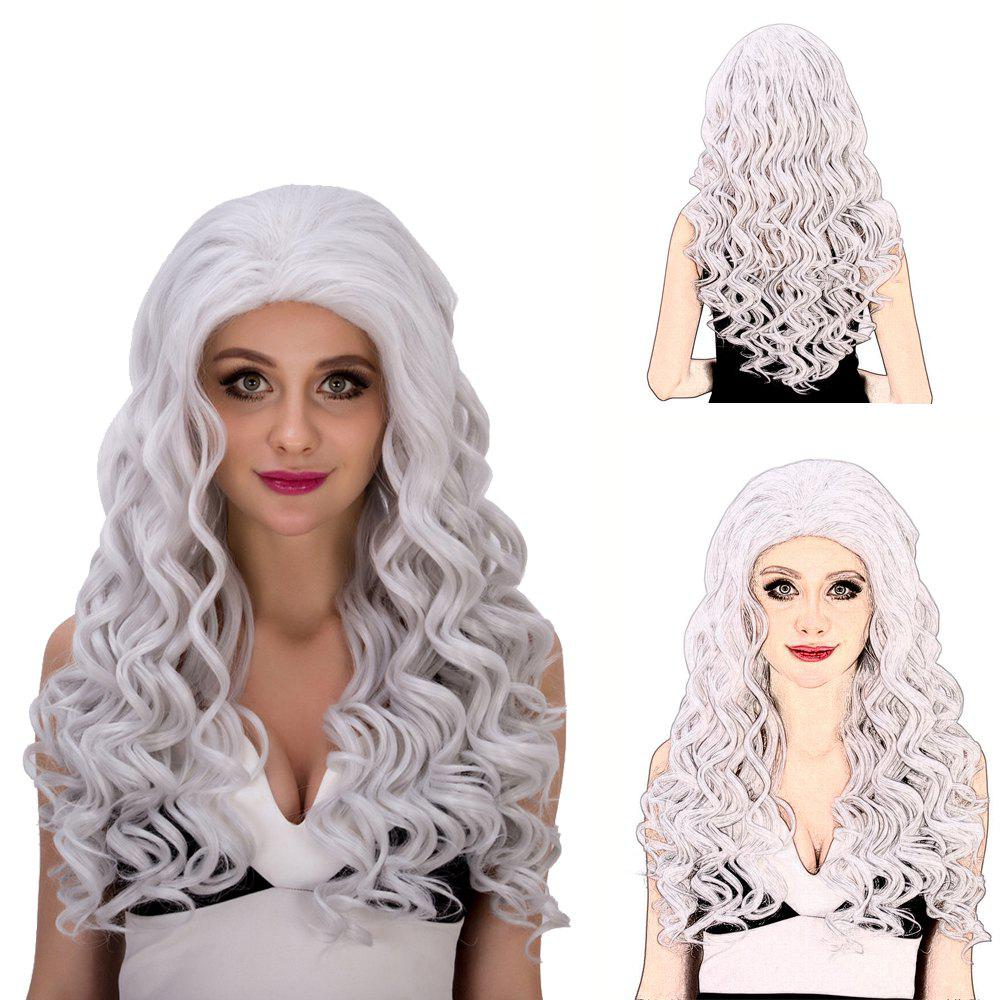 Vogue Women's Long Loose Curly Silver White Synthetic Capless Cosplay Wig