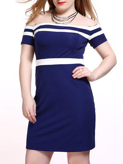 Plus Size Alluring Off-The-Shoulder Dress - BLUE L
