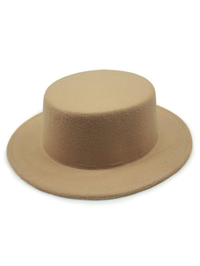 Chic Solid Color Flat Top Felt Fedora Hat - Kaki