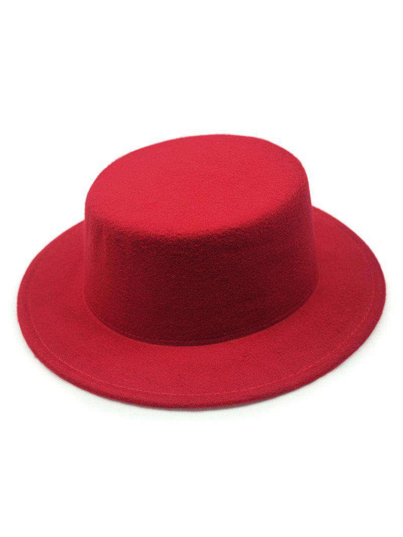 Chic Solid Color Flat Top Felt Fedora Hat - Rouge
