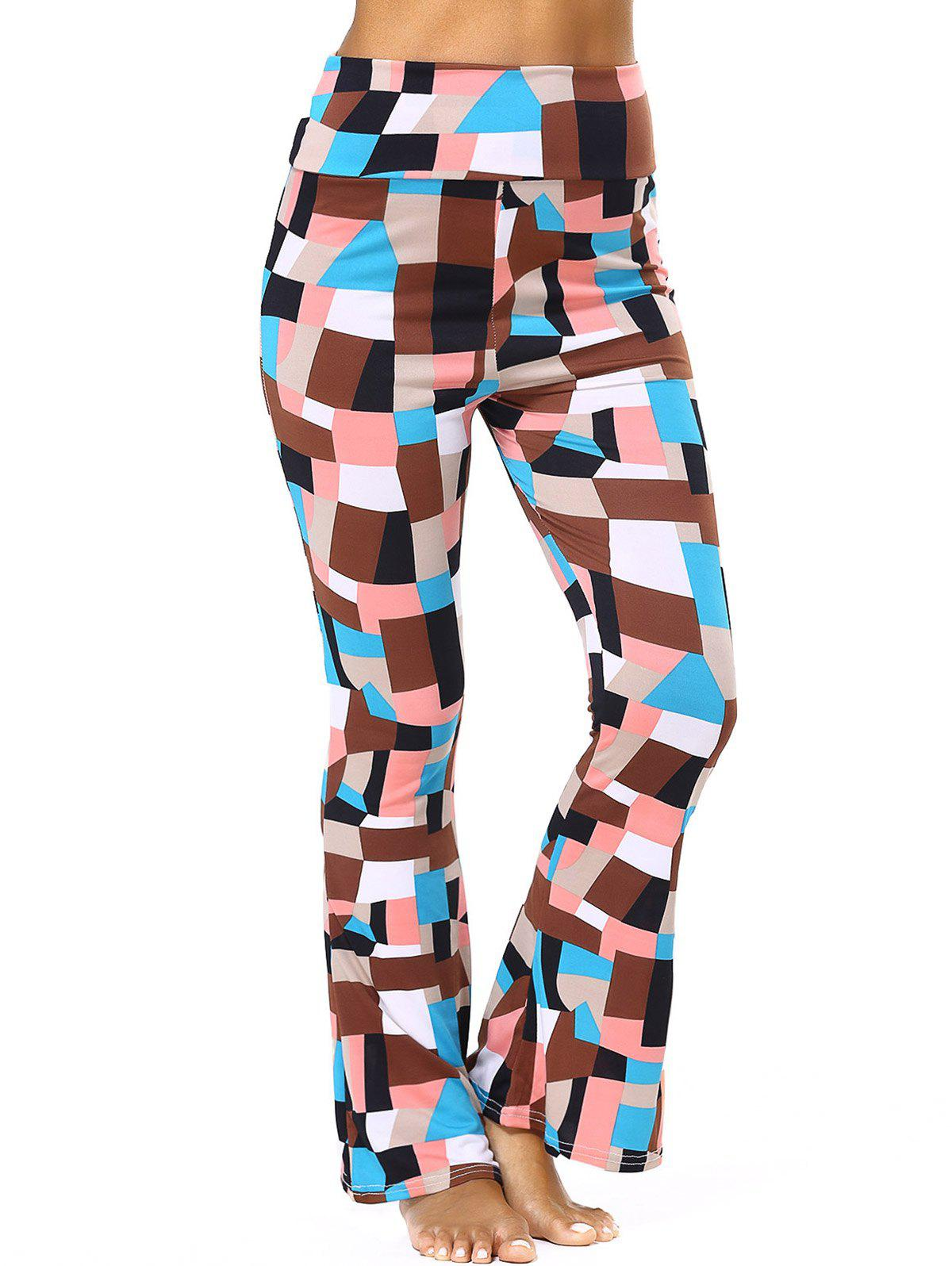 High Waisted Geometric Flare Pants - BROWN 3XL