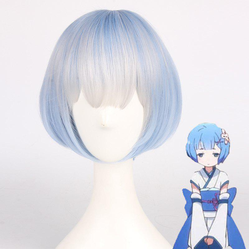 Fashion Short Syntheic Gray Ombre Water Blue Bob Style Straight Ram Young Cosplay Wig - COLORMIX