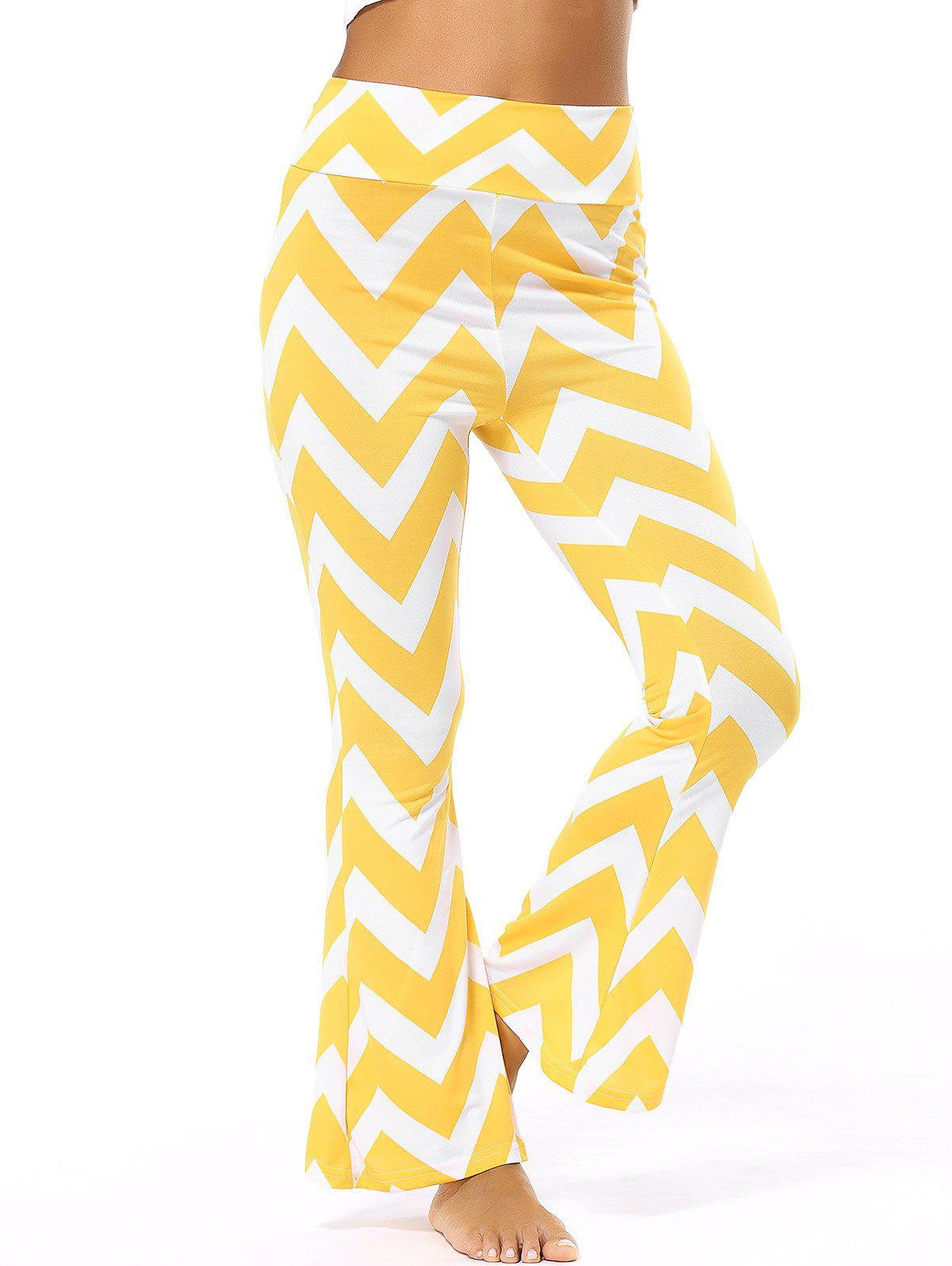 High Waisted Zig Zag Flare Pants - YELLOW 3XL