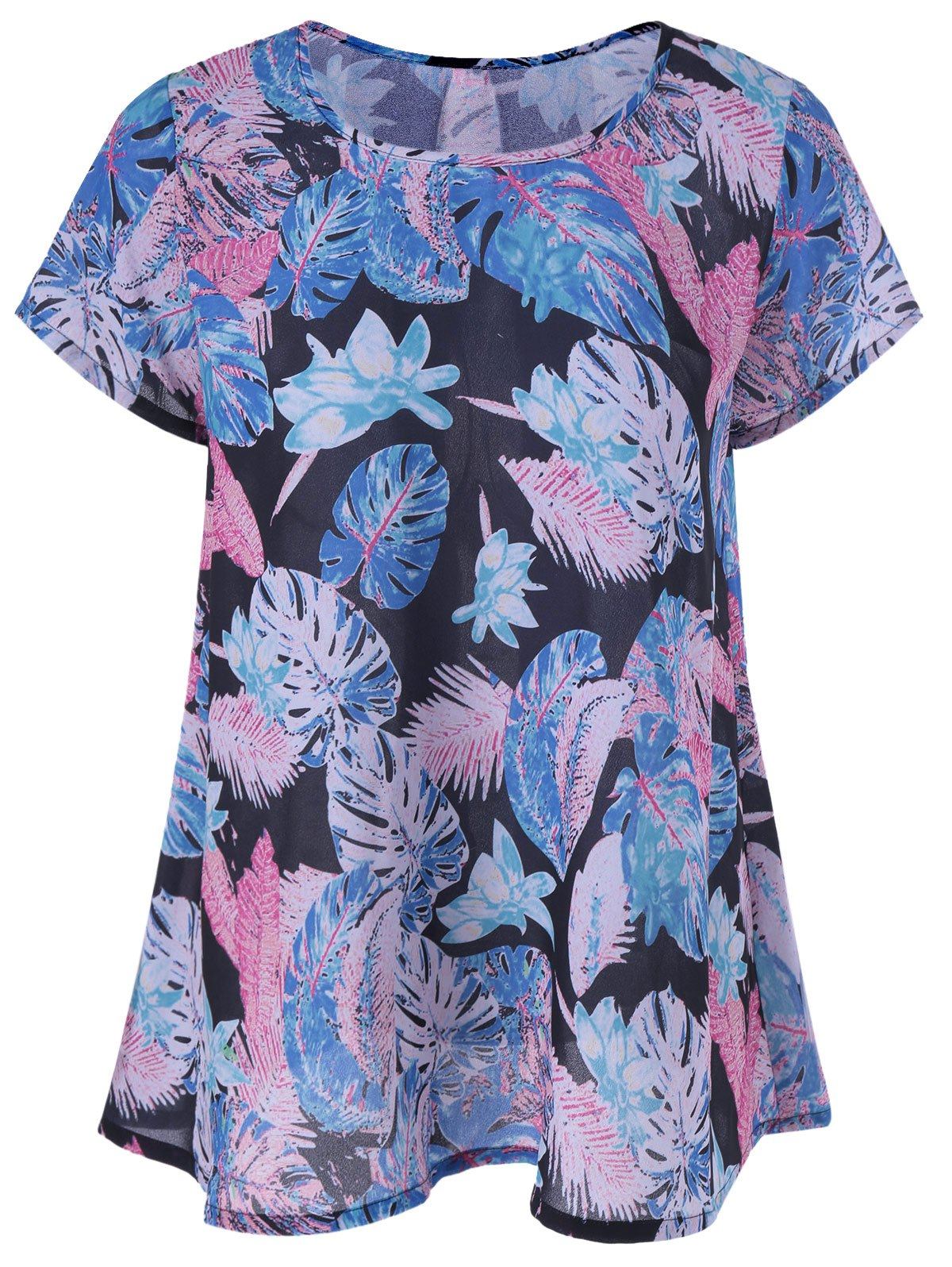 Casual Draped Leaf Print Blouse - BLUE XL