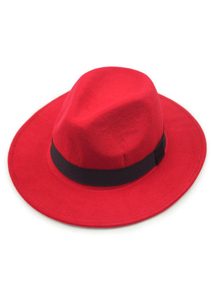 Chic Wide Brim Felt Fedora Hat - RED