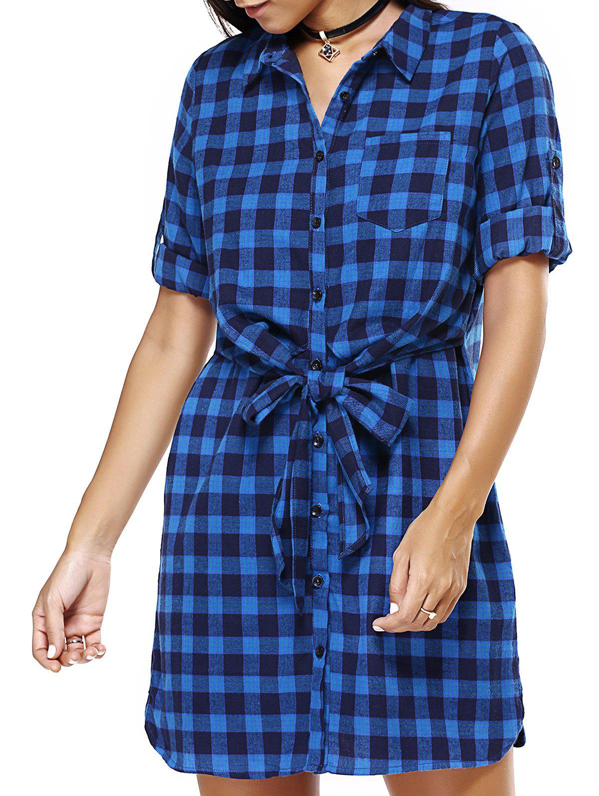 Blue Checked Print Bowtie Belted Loose Shirt Dress baile pretty love hedy белый мастурбатор вагина в тубусе