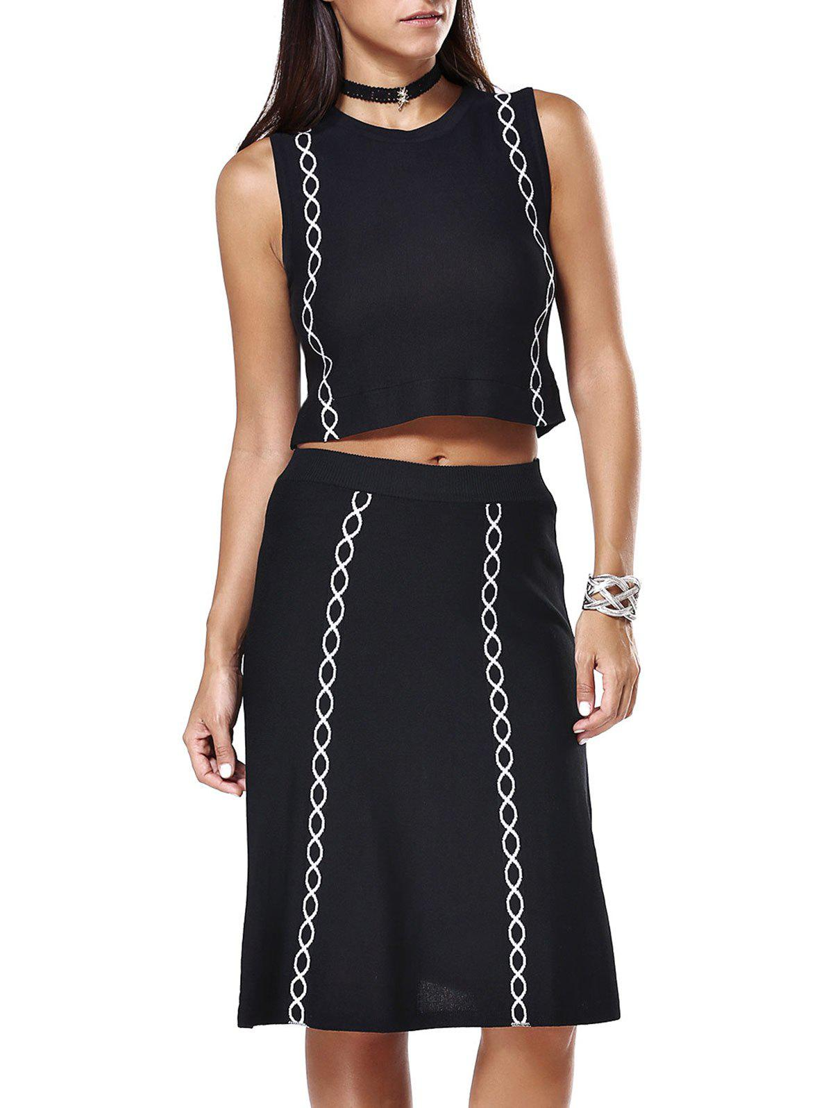 Ripple Pattern Crop Top and Midi Skirt Twinset - BLACK ONE SIZE