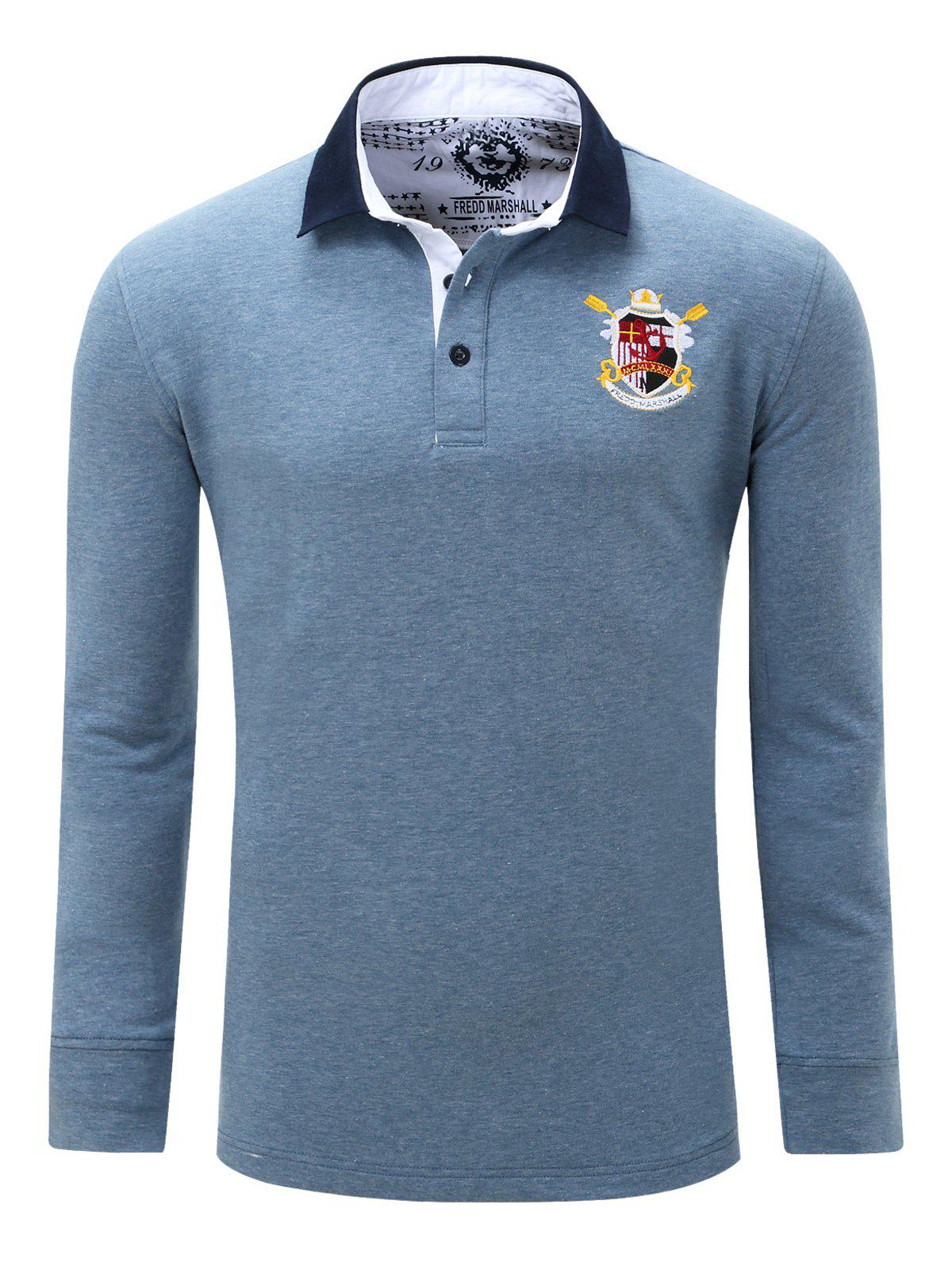Turn Down Collar Embroidered Patch Men's Long Sleeve Polo Shirt