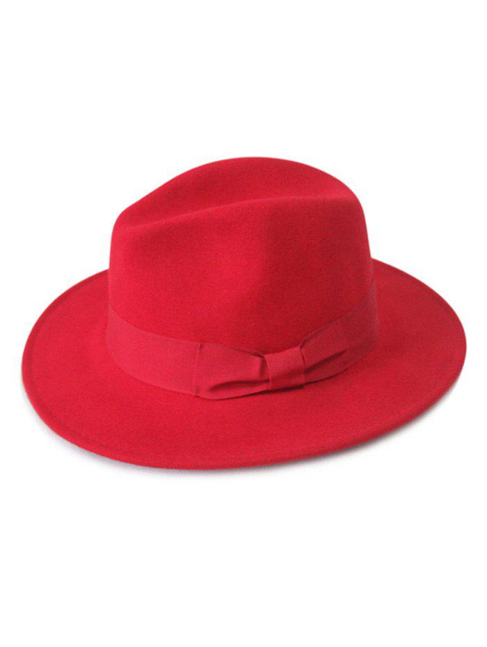 Chic Solid Color bowknot large Brim Felt Fedora Hat - Rouge