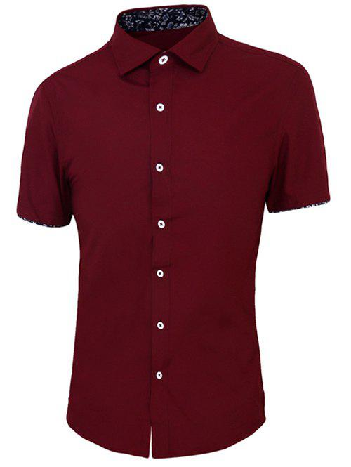 Solid Color Purfled Cuffs Men's Shirt Collar Short Sleeves Shirt - WINE RED 3XL